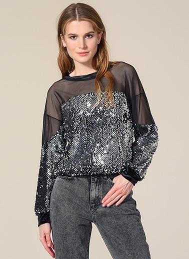 Agenda Payetli Tül Detaylı Sweatshirt Gümüş
